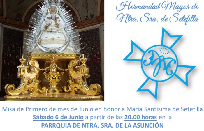 Misa de Primero de mes de Junio este Sábado 6 de Junio.